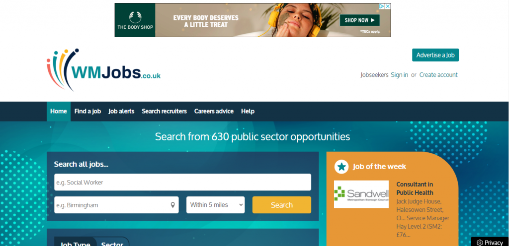 Sample web page to illustrate ads on WM Jobs